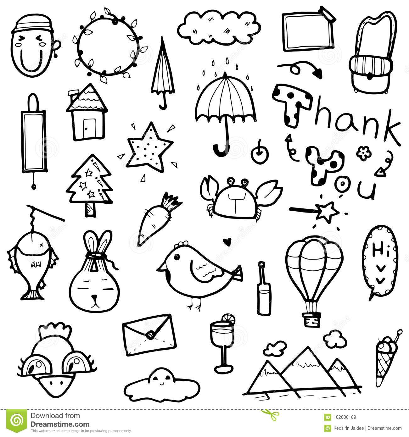 doodles cute hand drawn vector collection elements word illustration animal tree card objects prints character preview