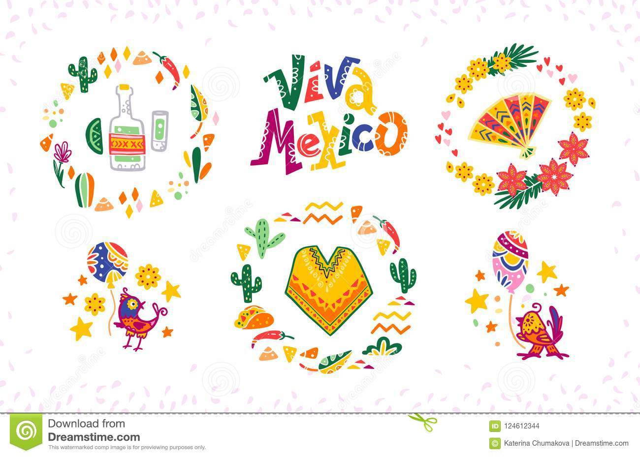 Vector set of hand drawn decorative arrangements with traditional Mexican symbols and elements - Mexico lettering, decor, tequila,