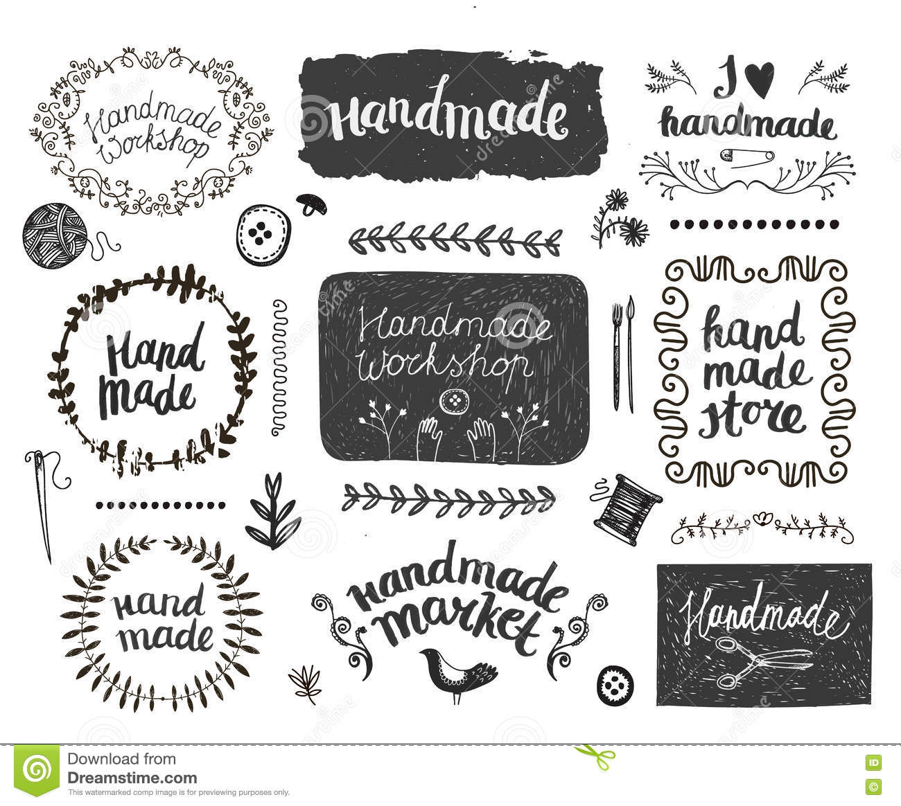 vector set of hand drawn doodle frames badges handmade workshop