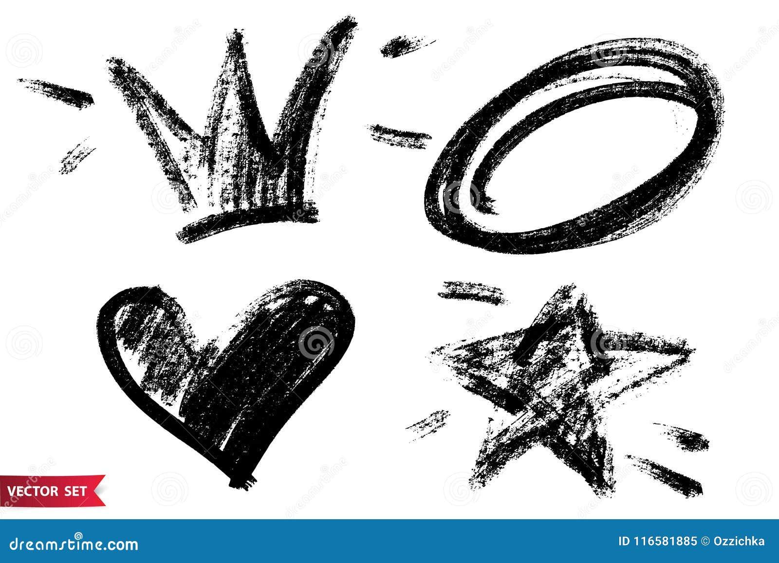 Vector Set Of Hand Drawn Dry Brush Symbols Black Charcoal Hand