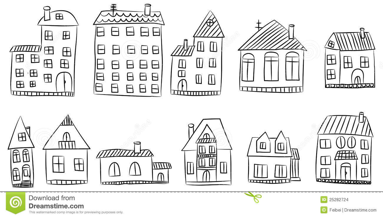 Vector Set Of Hand Drawn House Stock Vector - Illustration ...