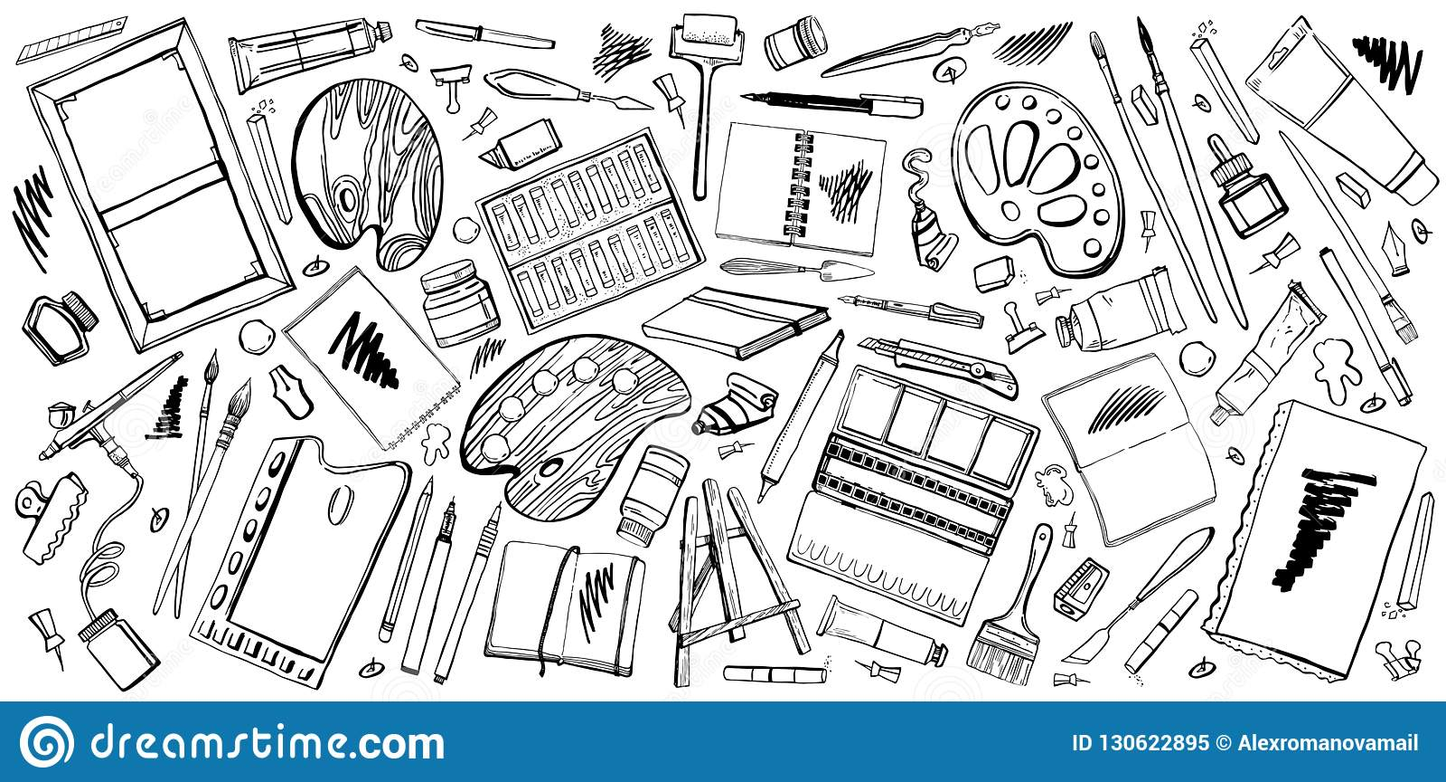 Vector set of hand drawn sketch vector artist materials
