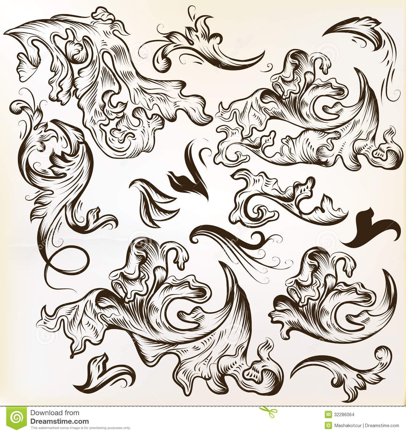 Stock Images Vector Set Hand Drawn Swirl Ornaments Vintage Design Calligraphic Elements Calligraphic Image32286064 on Victorian Ornamental Border Brown