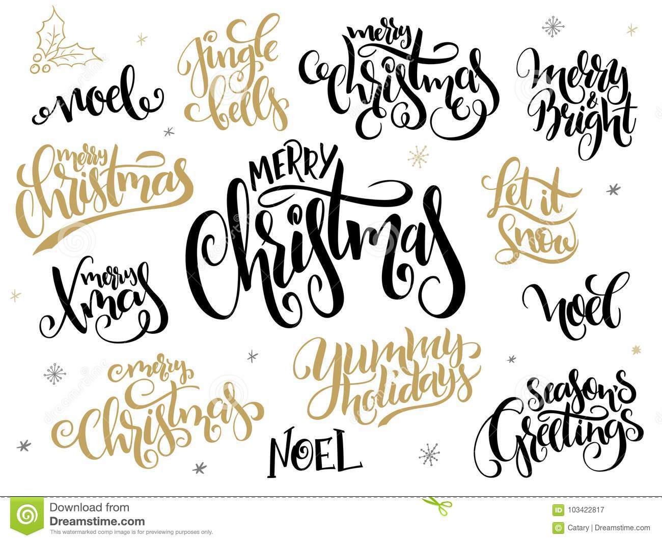 Vector set of hand lettering christmas greetings phrases merry vector set of hand lettering christmas greetings phrases merry christmas with holly leaves and m4hsunfo