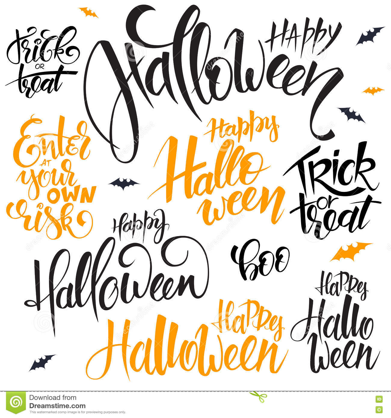 vector set of hand lettering halloween quotes - happy halloween