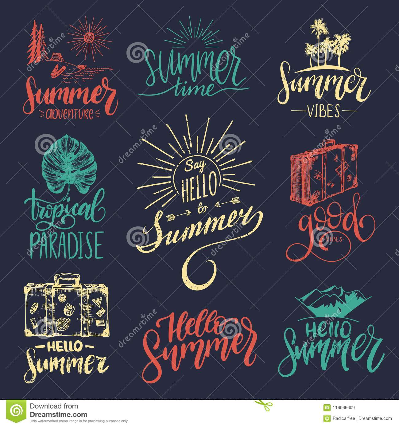 Vector Set Of Hand Lettering With Summer Motivational Phrases And