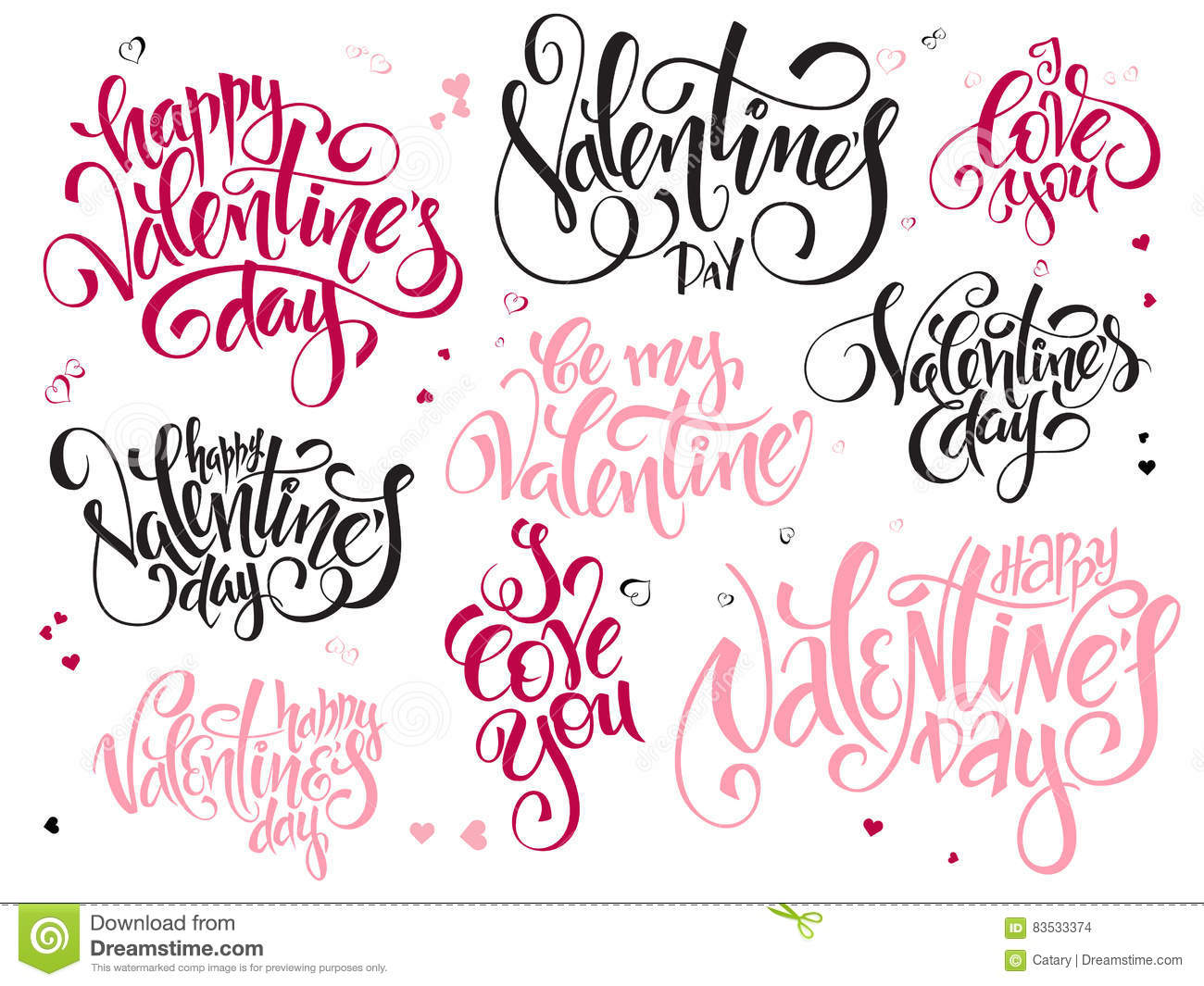 Vector Set Of Hand Lettering Valentines Day Greetings Text Happy