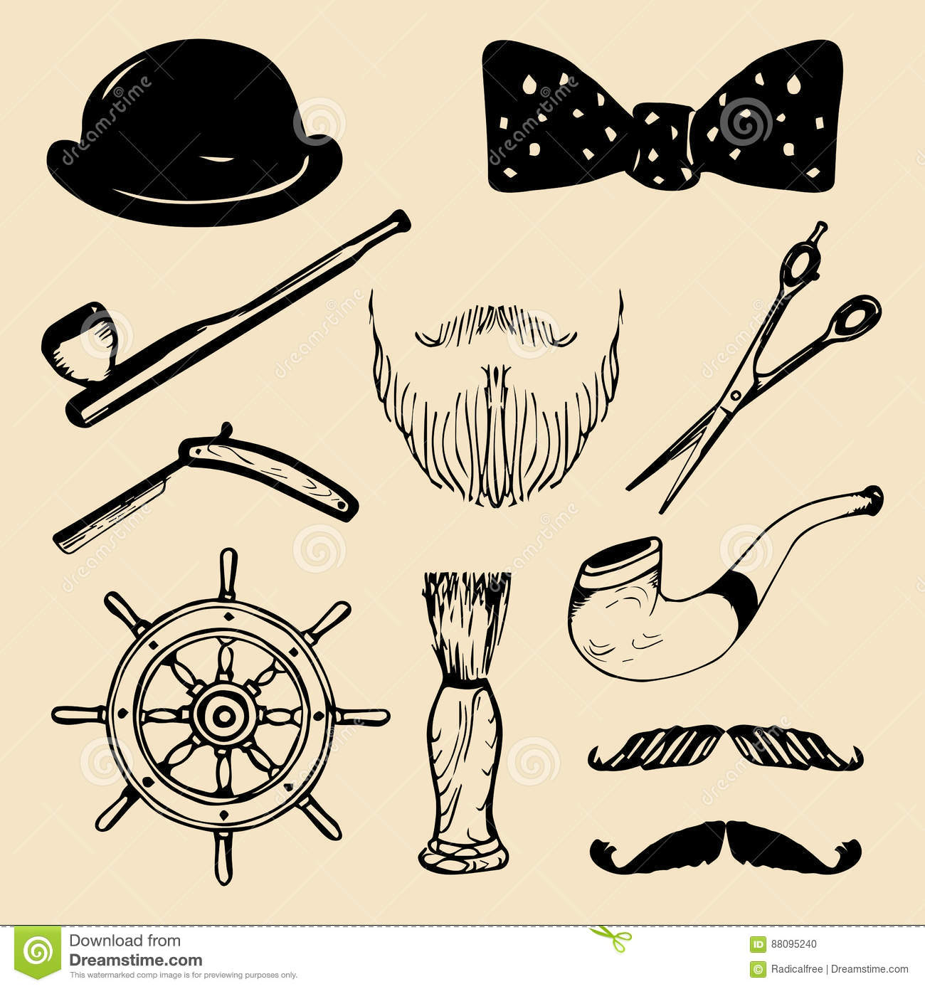 495a55b2 Vector set of hand sketched hipster vintage elements. Retro collection of  barber shop equipments, pipe, wheel, hat etc.