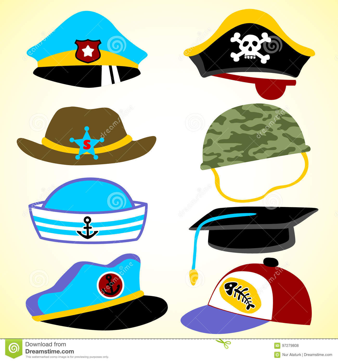 c300c01b6ae Vector set of hat stock vector. Illustration of police - 97279808