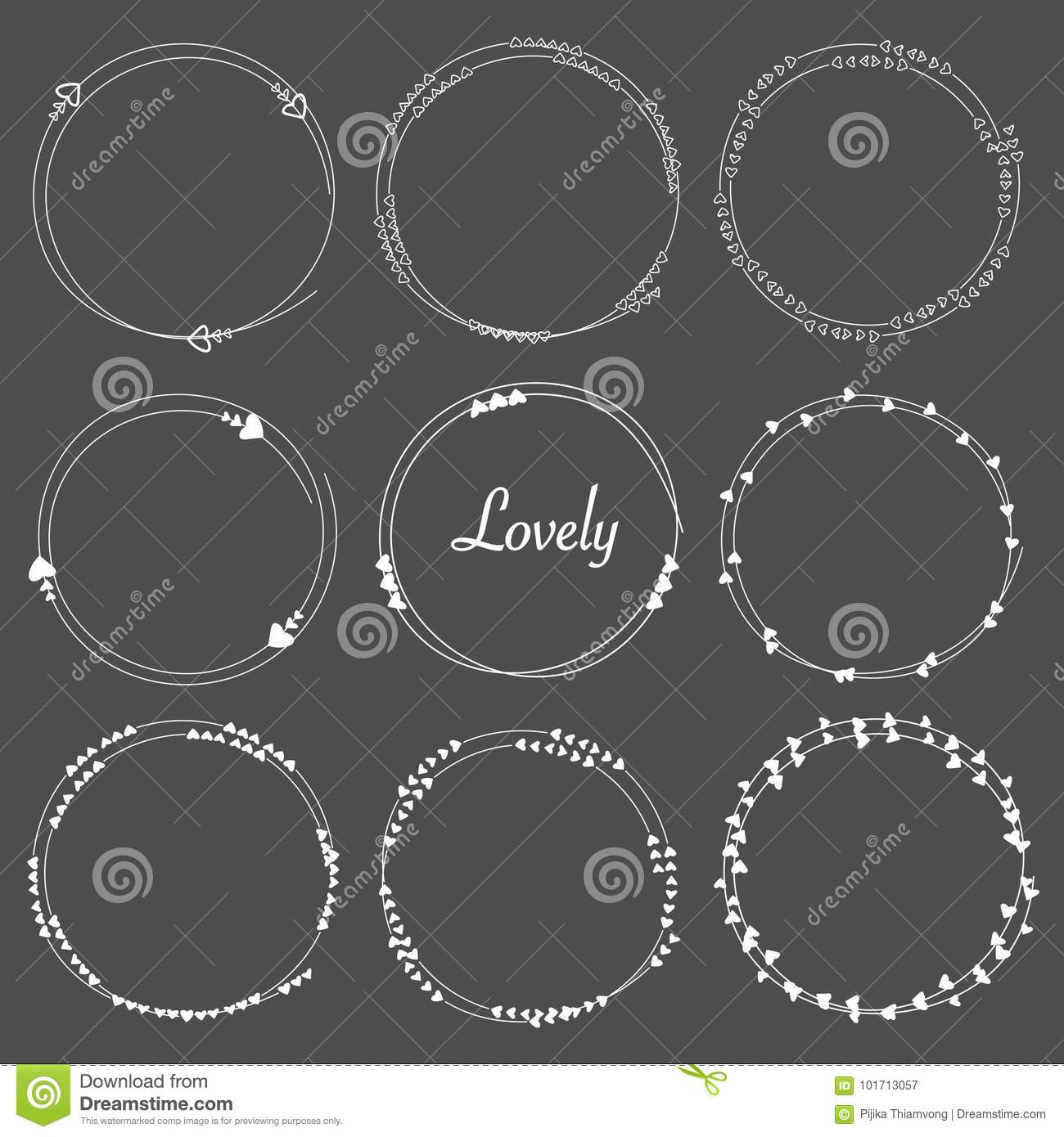 Vector Set Of Heart Dividers Round Frames For Decoration.