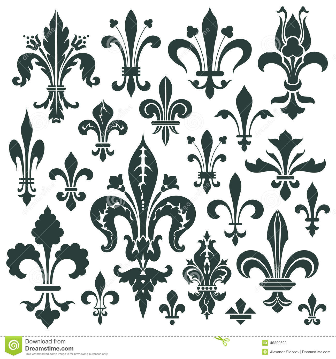Vector set heraldic lily for decoration and design stock vector vector set heraldic lily for decoration and design izmirmasajfo Choice Image
