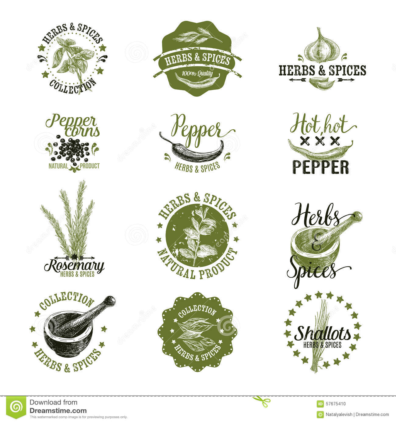Hand Drawn Organic Food Label Set: Vector Set Of Herbs And Spices Labels, Badges Stock Vector