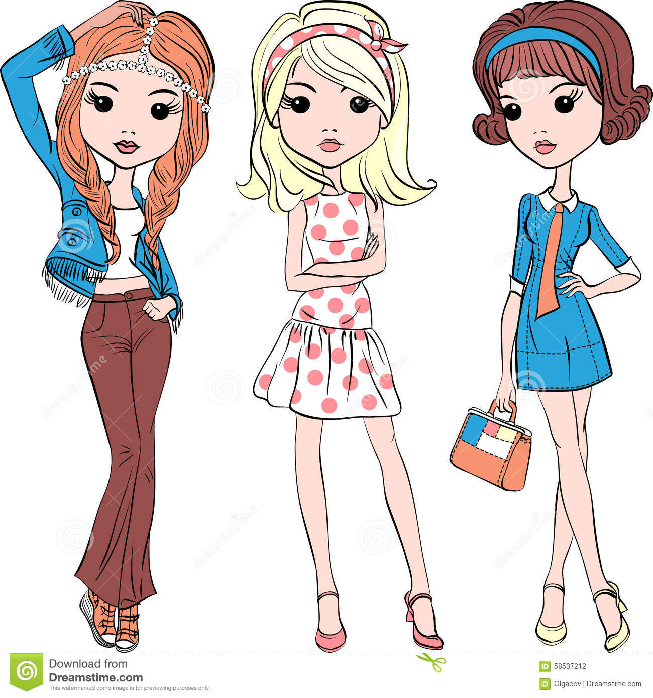 371c090ff6b2 Vector Set Hipster Fashion Cute Girl Stock Vector - Illustration of ...
