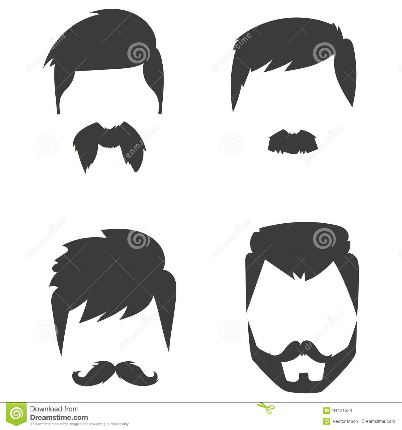 40698556f Vector set of hipster retro hair style mustache vintage old shave male  facial beard haircut illustration. Curly face collection fashion barber  hairstyle ...