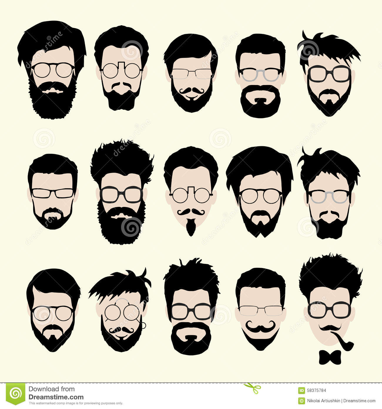 Vector Set Of Hipster Style Haircut, Glasses Stock Vector ...