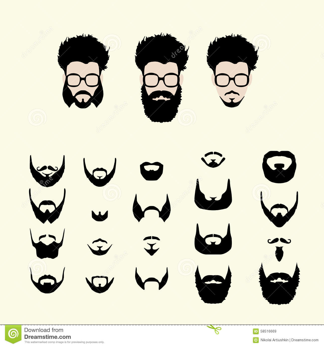 d225ffdd4c1 Vector set of dress up constructor. Different men faces hipster geek style  haircut