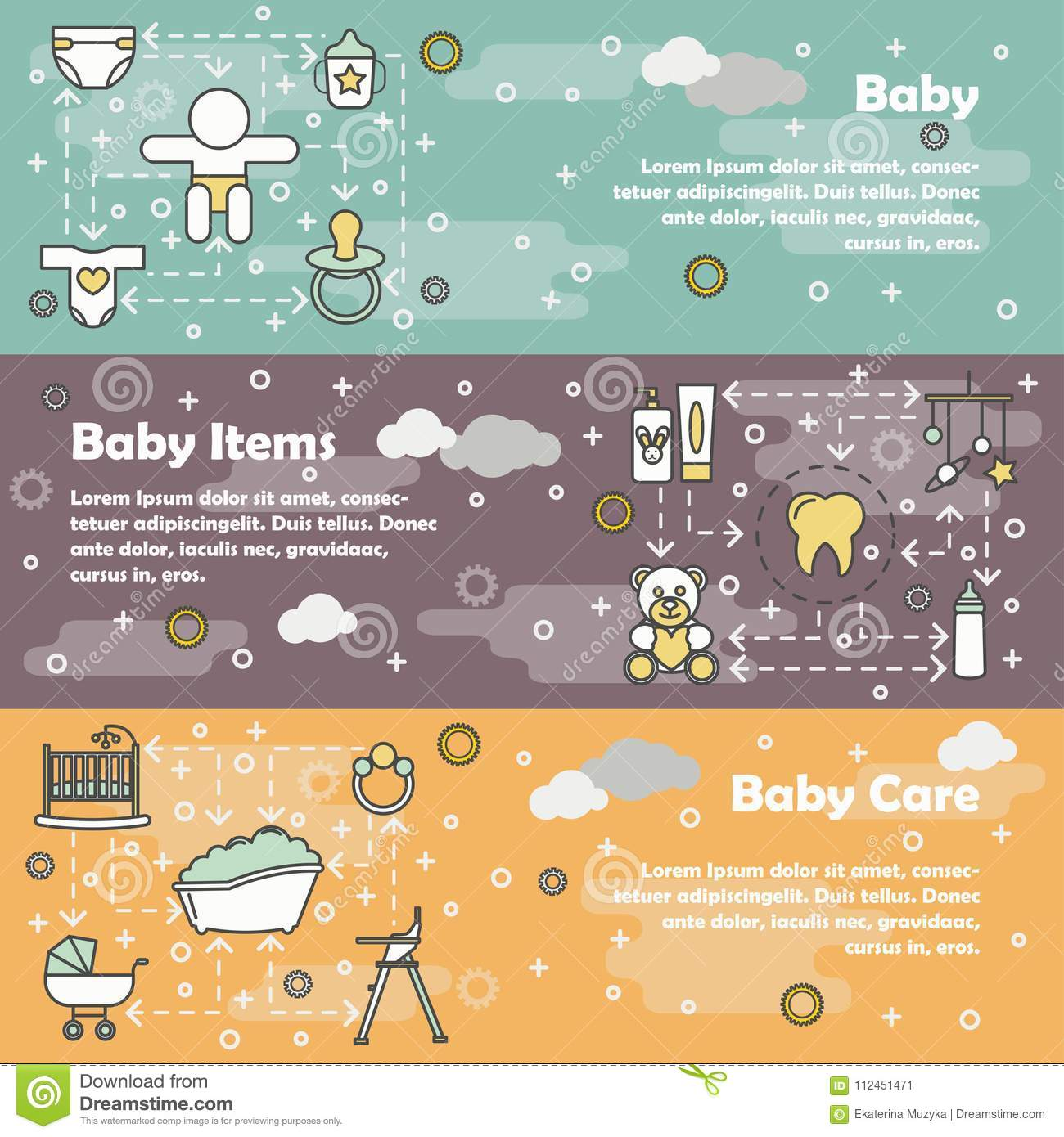 vector flat line art newborn baby banner set stock vector