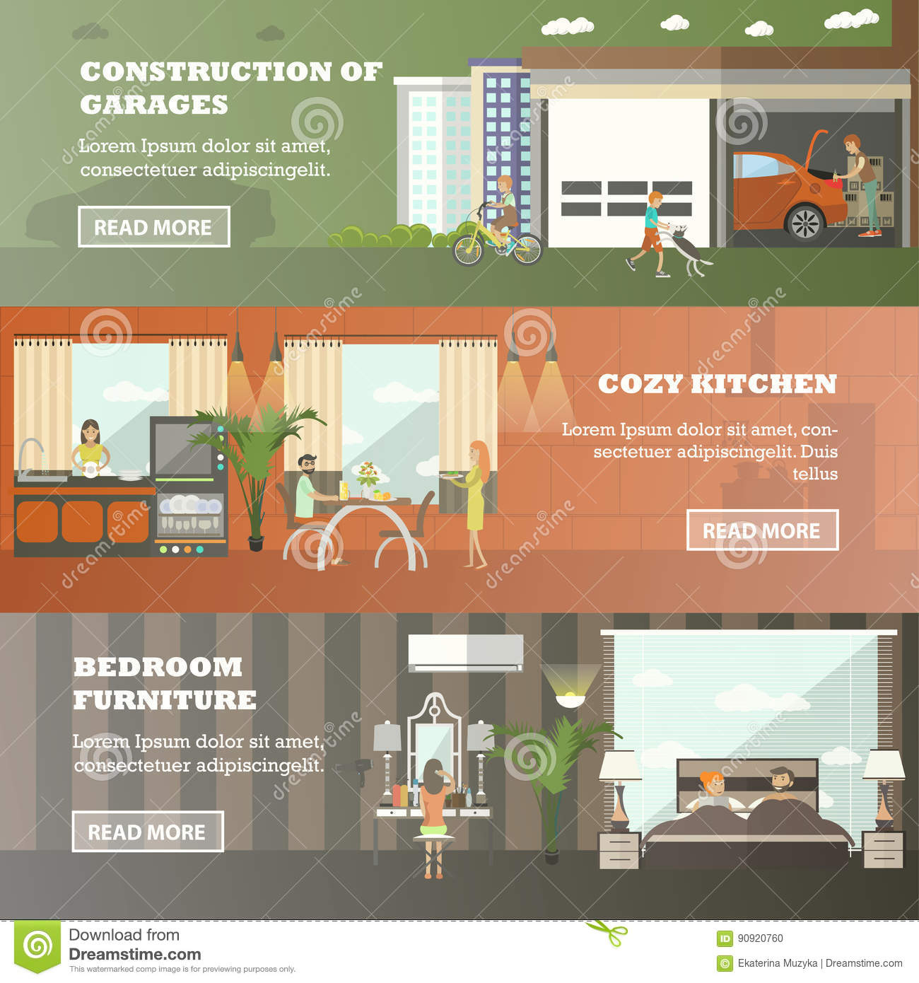 Bedroom Interior Design Set Furniture Vector ~ Vector set of house horizontal banners in flat style