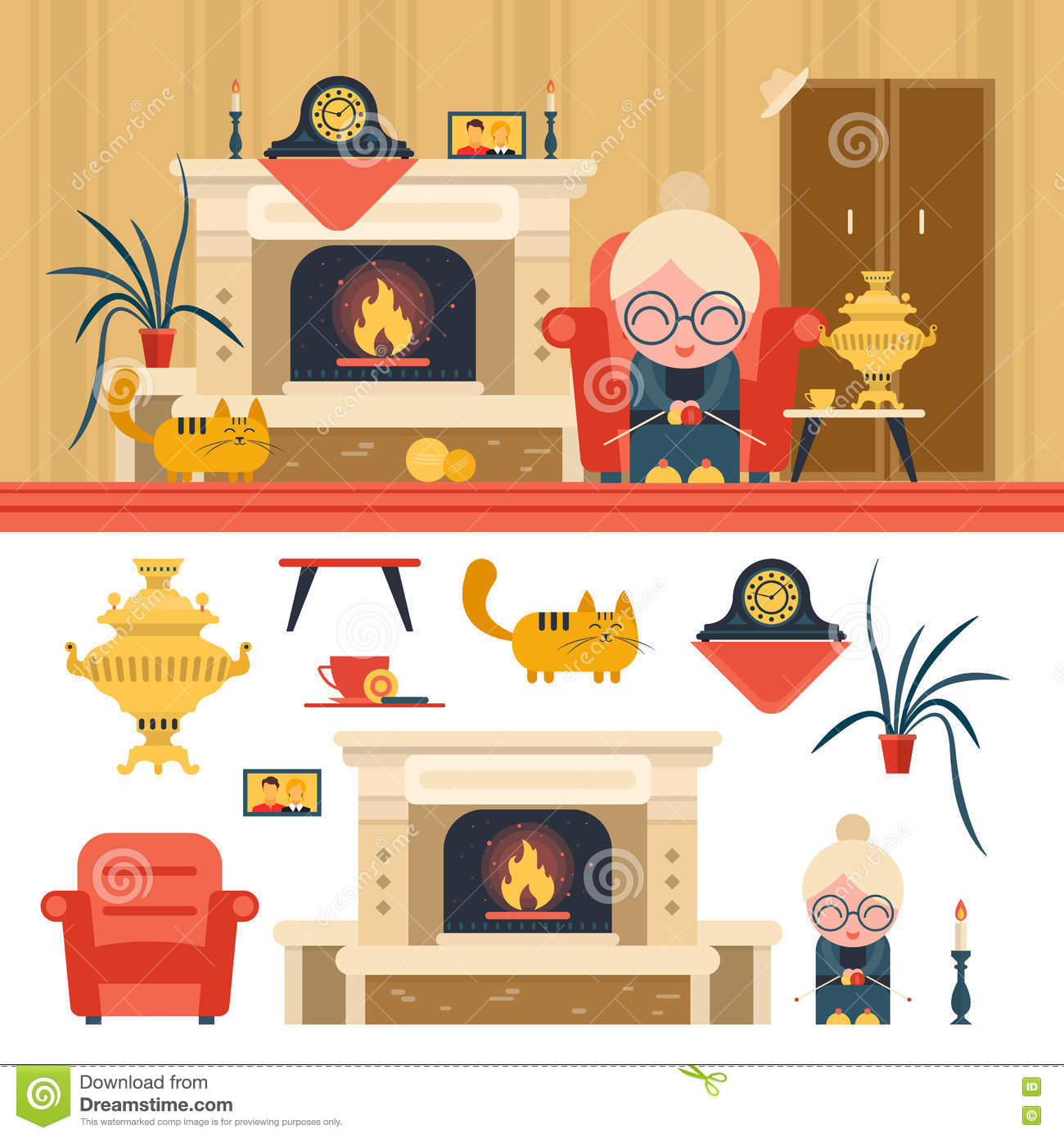 Wonderful Royalty Free Vector. Download Vector Set Of House Living Room Interior  Objects ... Part 14