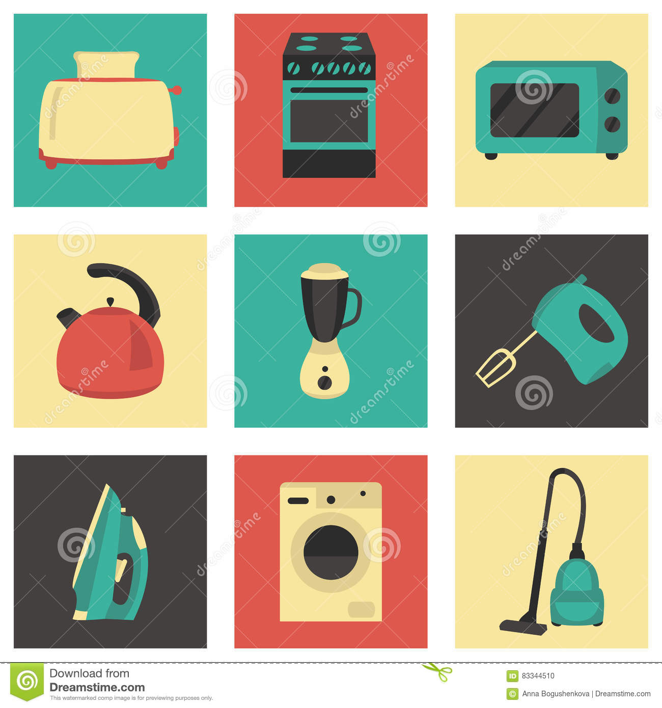 Vector set of household appliances design flat icons for Household appliances design