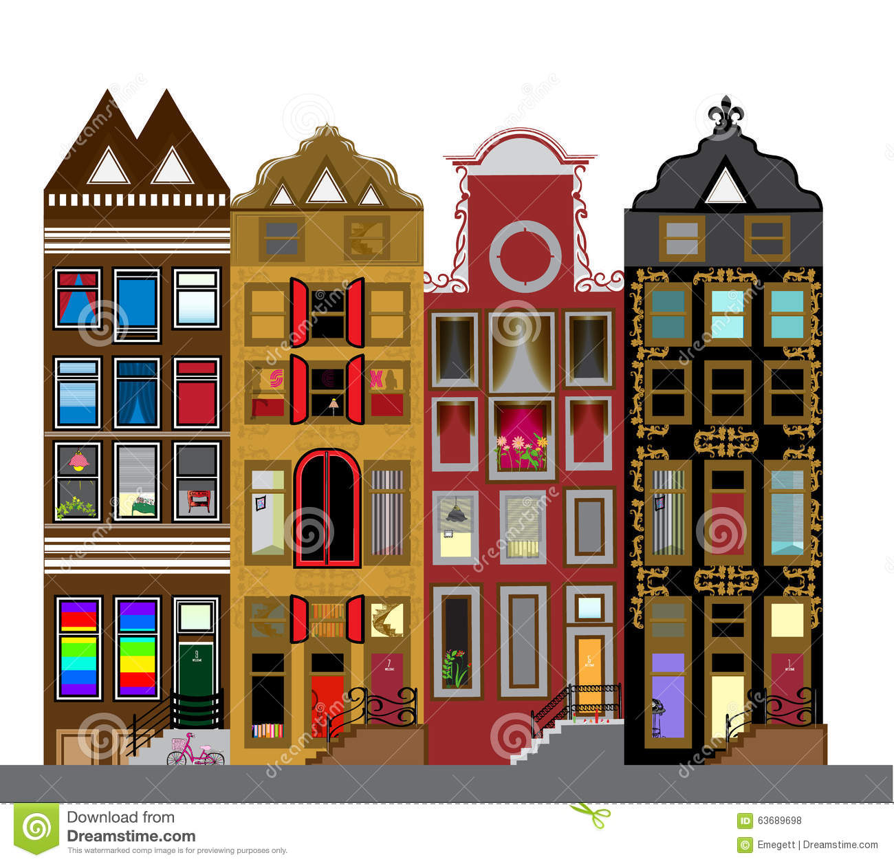 Vector set of houses in the dutch style different color for Different shapes of houses
