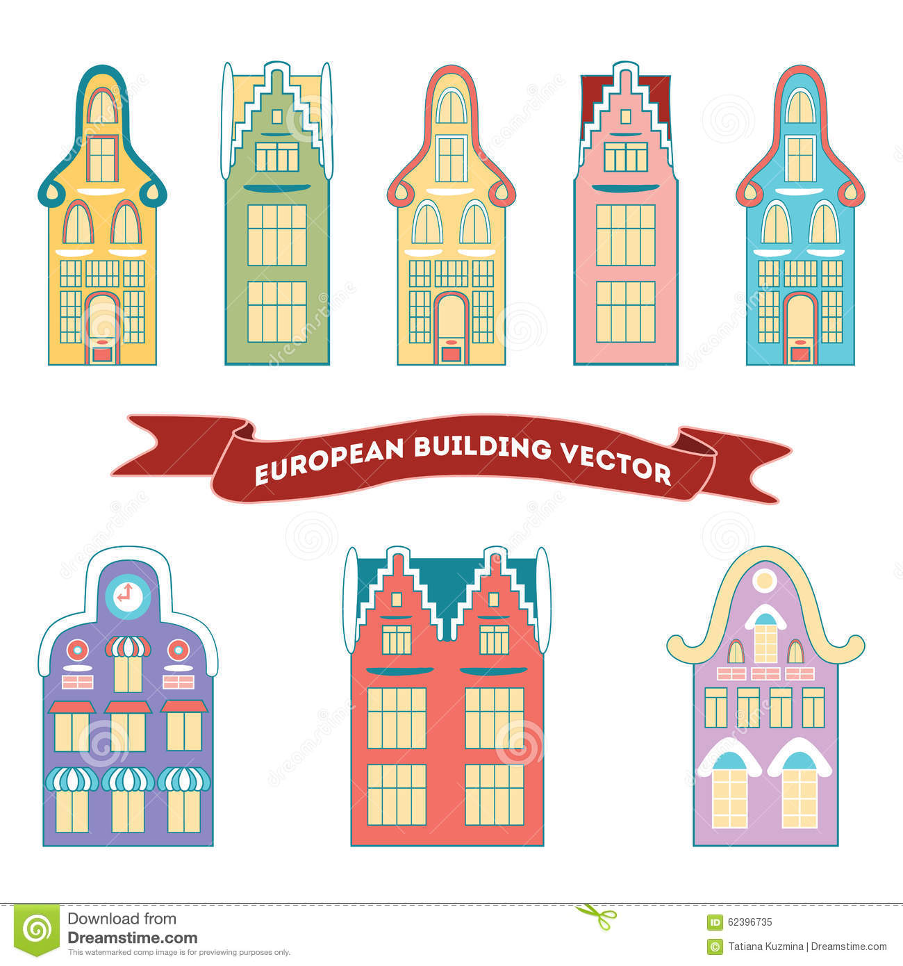 Vector Set Of Houses In The Netherlands Style Stock Vector