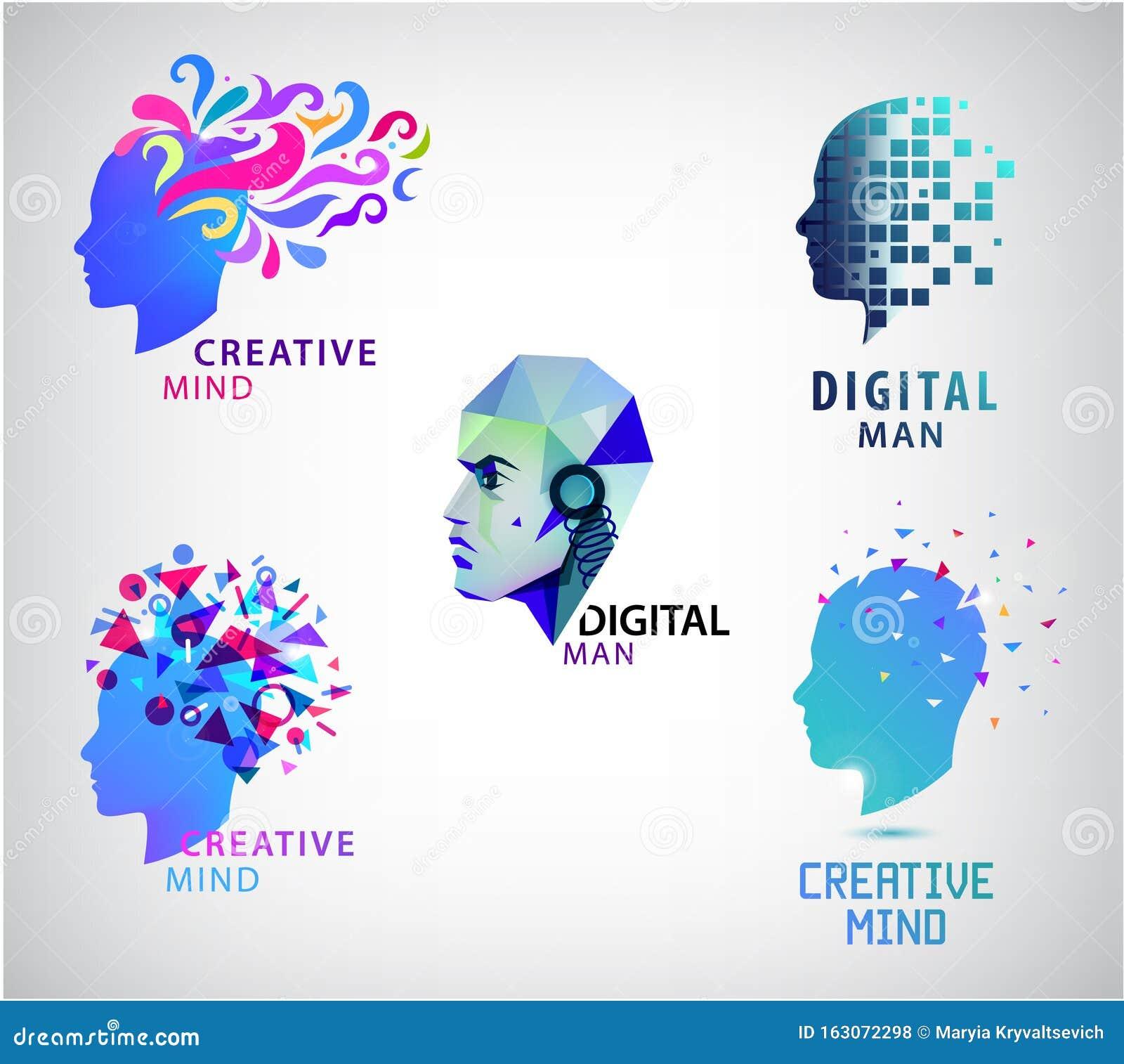 Vector Set Of Human Head, Creative Mind, Think Logos