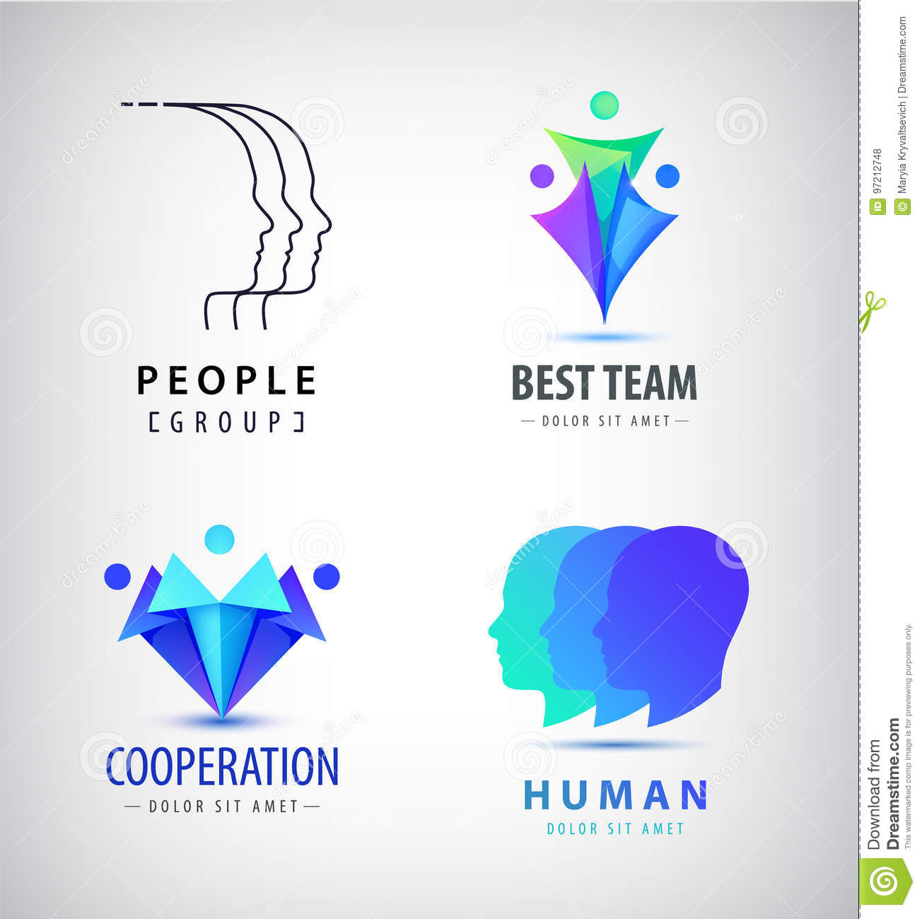 Vector Set Of Human Men Logos Creative Group Teamwork Family Union Signs Origami Linear Styles
