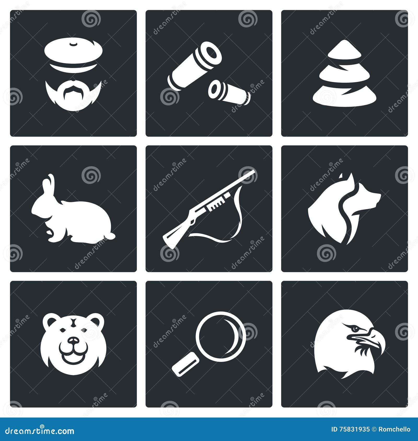 Vector Set of Hunting Icons. Hunter, Ammunition, Timber, Animal, Arms, Dog, Predator, Search, Bird.