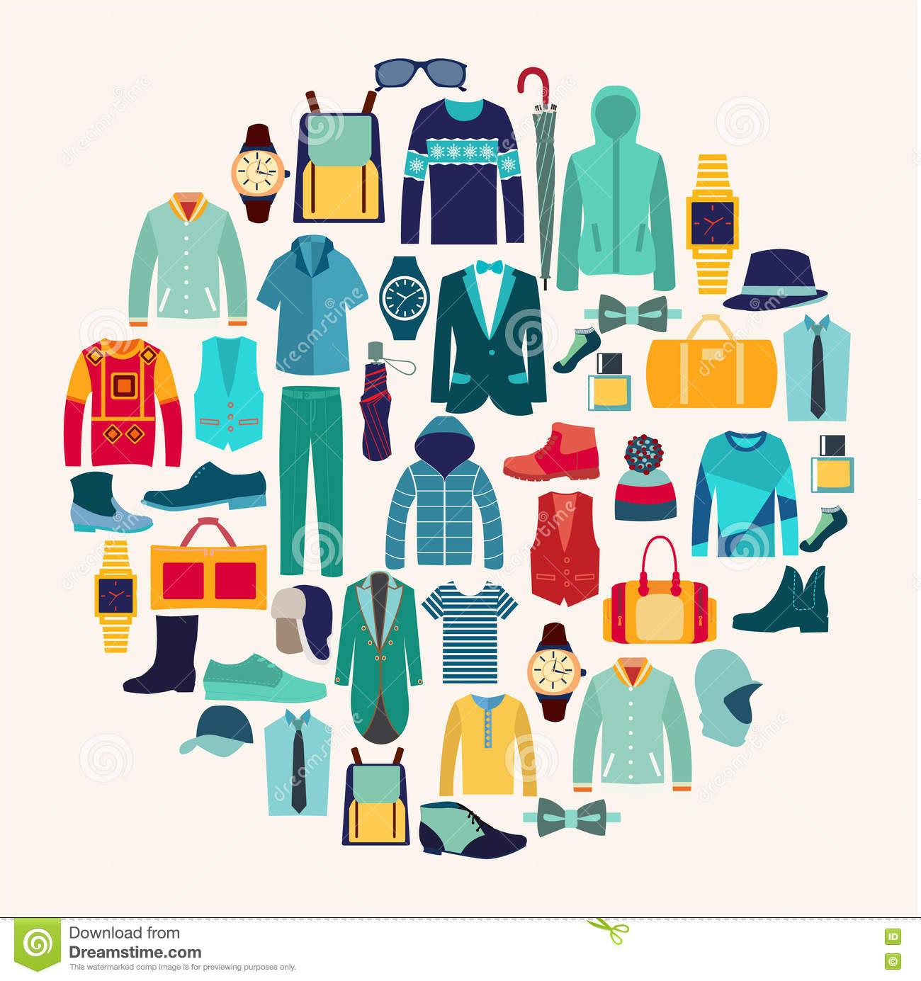 Vector Set Icon Of Fashion Collection Of Man Wardrobe Stock Vector Image 79419673