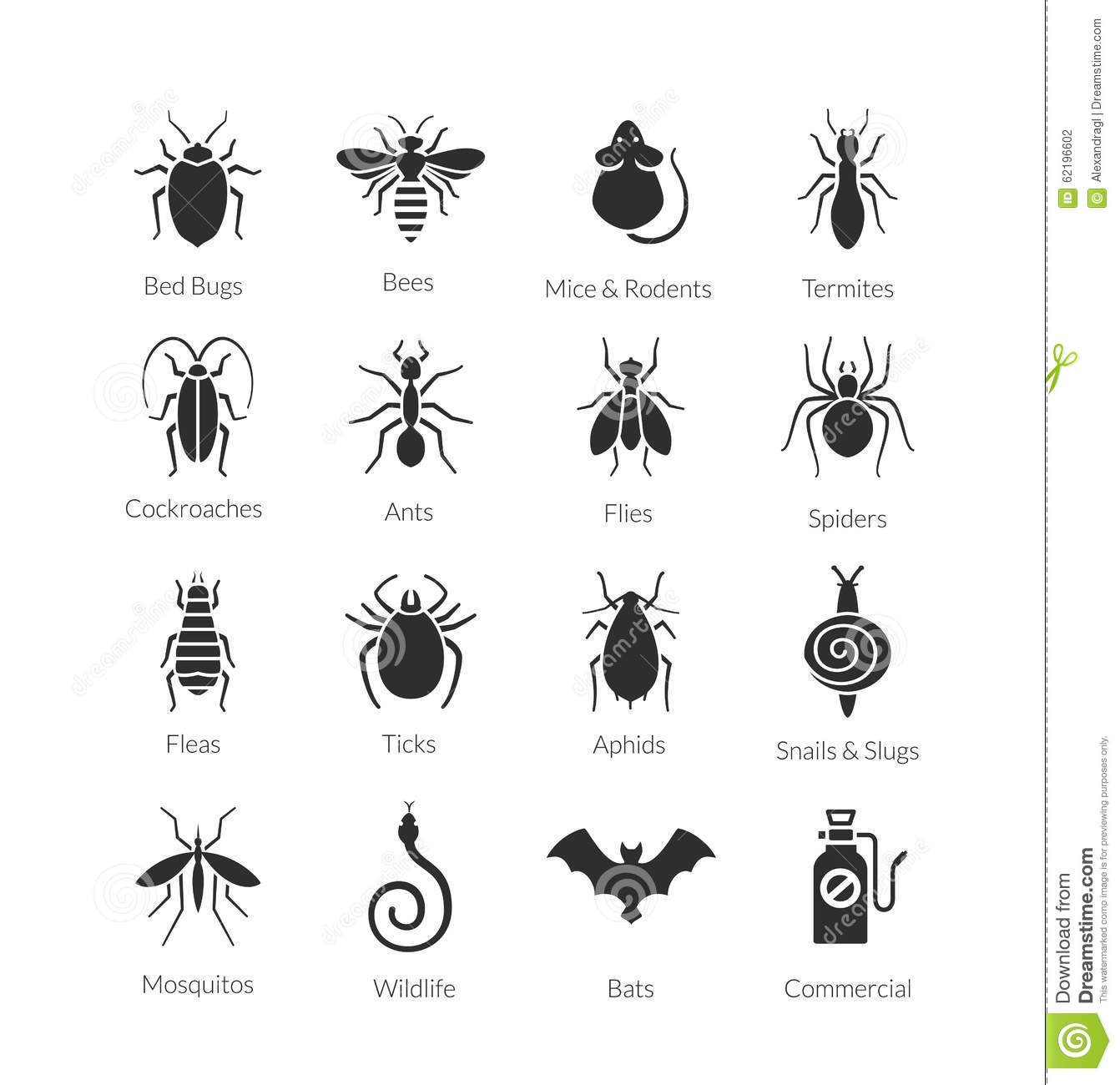 House Design Companies Australia Vector Set Of Icons With Insects For Pest Control Company