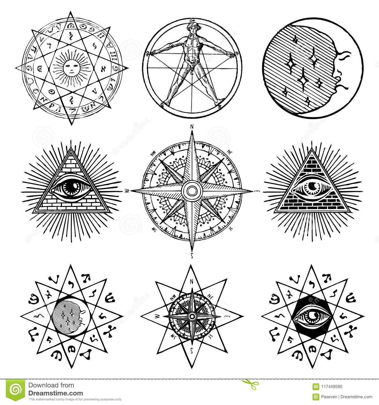 Set Of Icons On Theme Of Magic Esoteric Masons Stock Vector