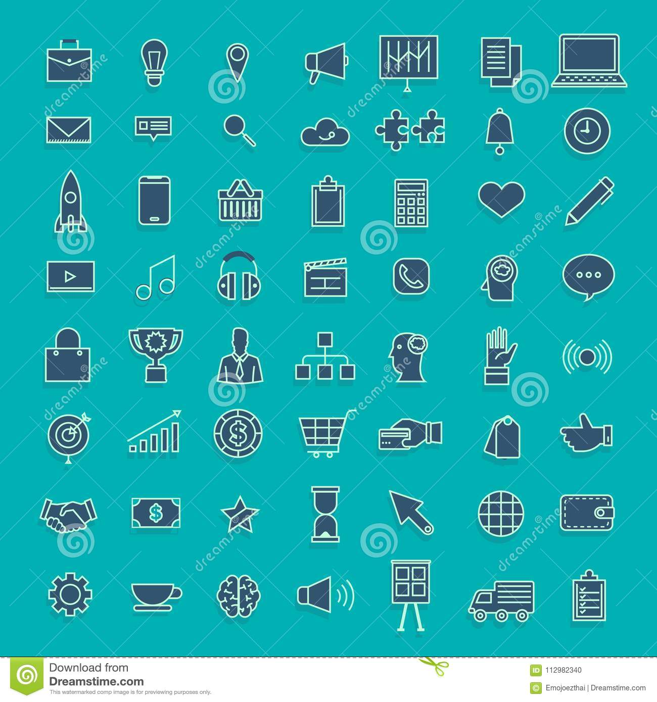 Vector set icons thin line concept business and technology content. Flat design illustration.