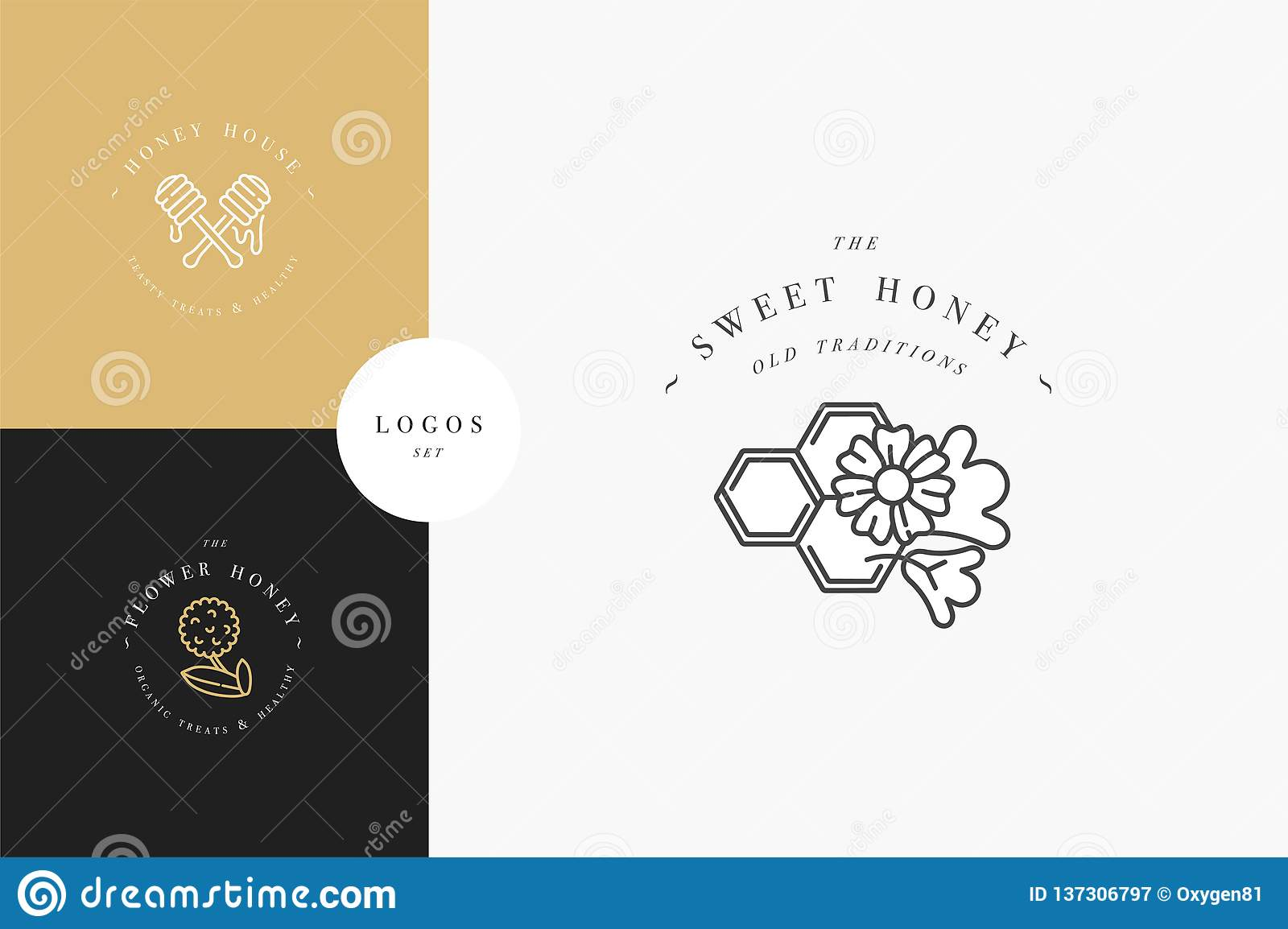 Vector set illustartion logos and design templates or badges. Organic and eco honey labels and tags with bees. Linear