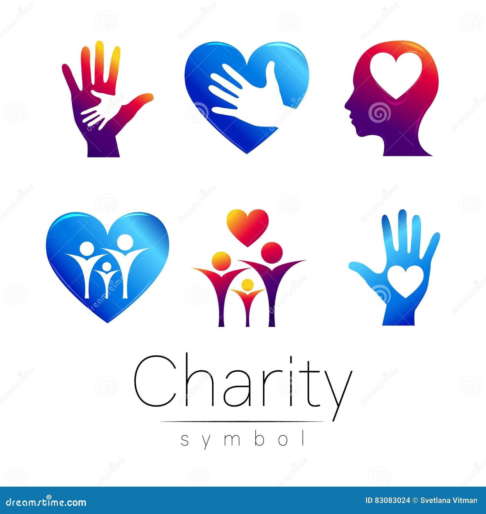 Vector Set Illustration Symbol Of Charitygn People Heart Hean