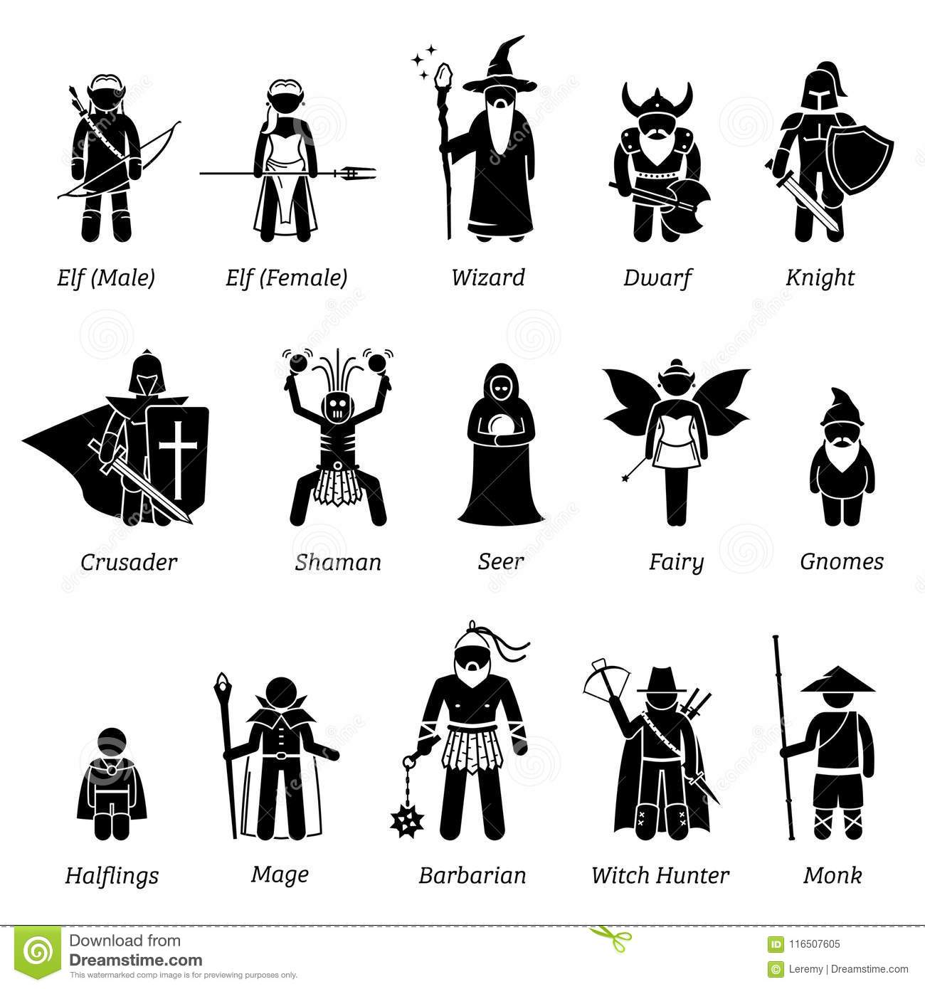 Ancient Medieval Fantasy Characters Classes And Warriors Icon Set