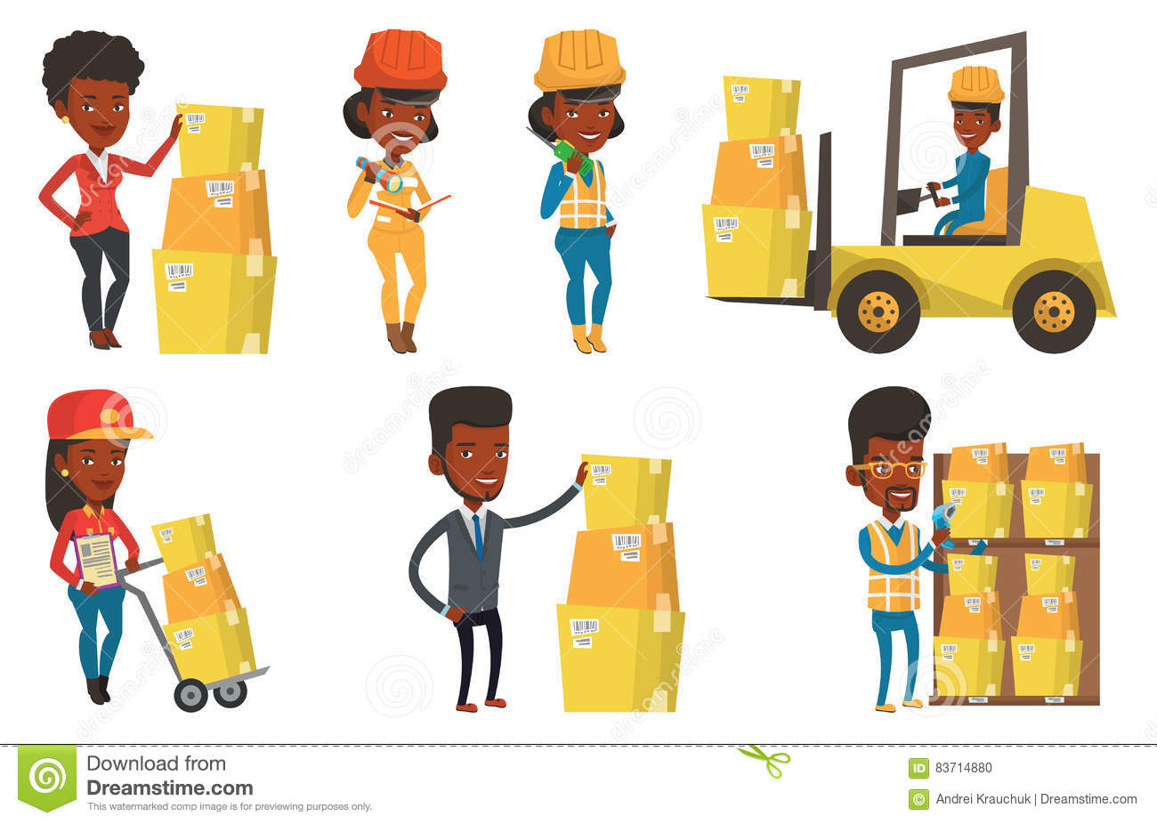 Vector Set Of Industrial Workers. Stock Vector