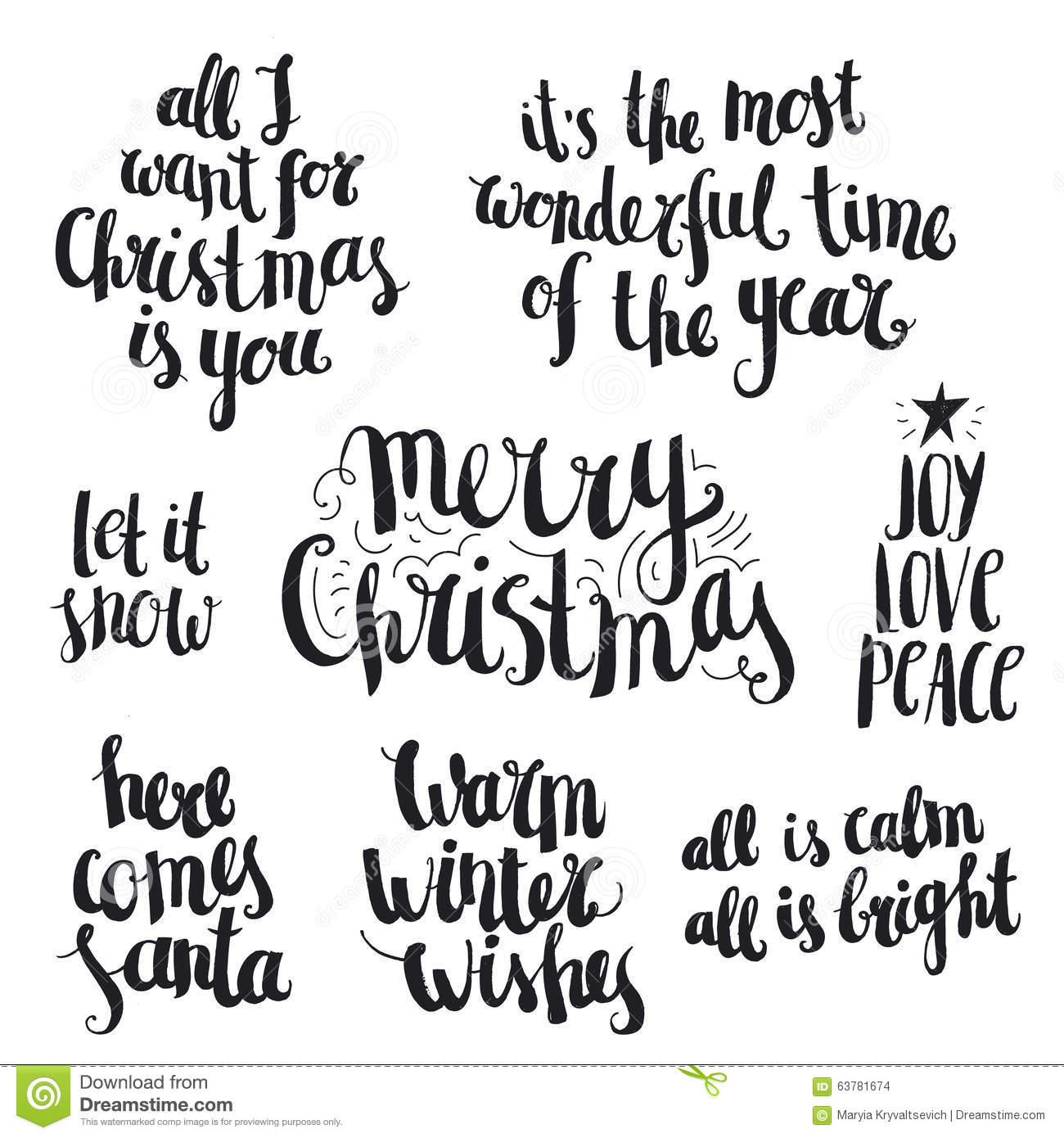 Vector Set Of Ink Hand Drawn Christmas And Winter Stock