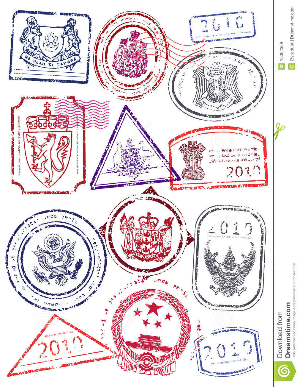 Vector Set Of International Passport Stamps Royalty Free