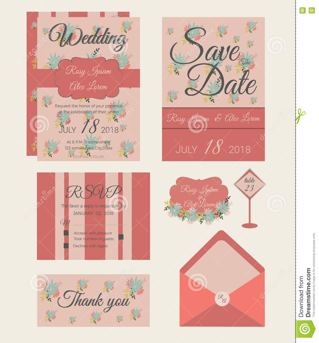 Vector Set Of Invitation Cards With Flowers Elements Wedding Col ...