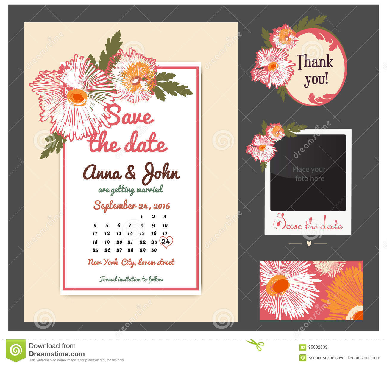 Vector Set Of Invitation Cards With Vintage Cards Or