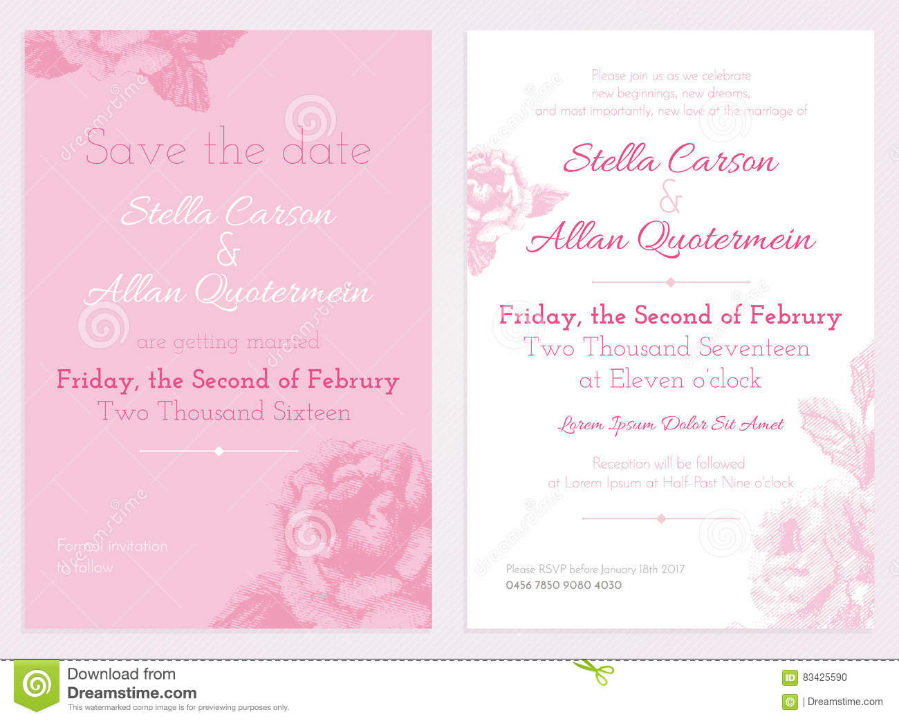 vector set of invitation and save the date cards wedding collection