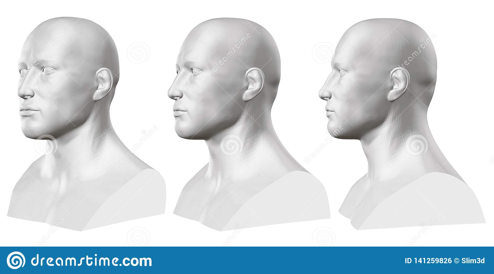 Vector set of isolated male busts of mannequins on white background. 3D. Male bust from different sides. Vector