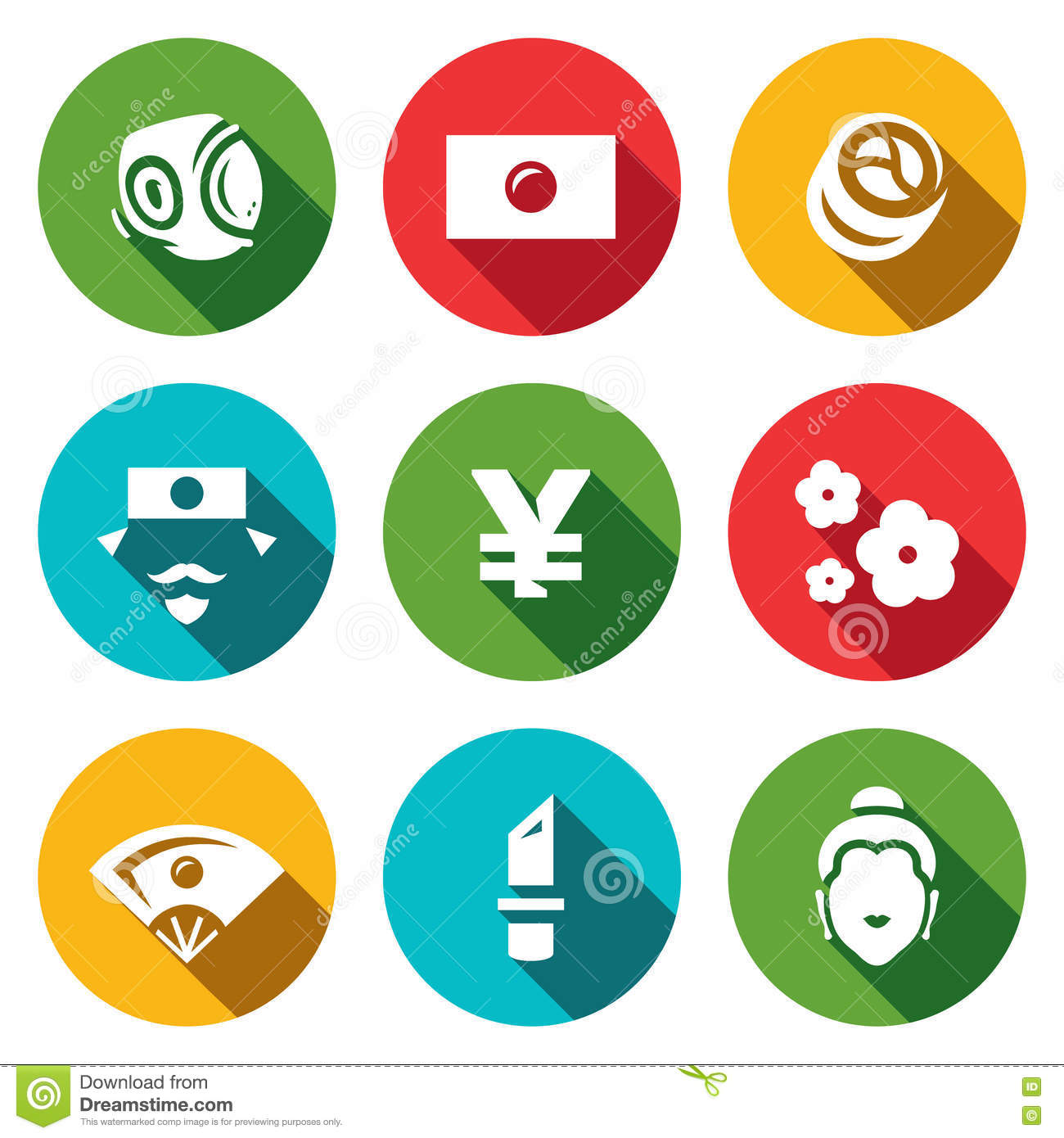 Vector Set Of Japan Icons Sport National Flag Traditional Food