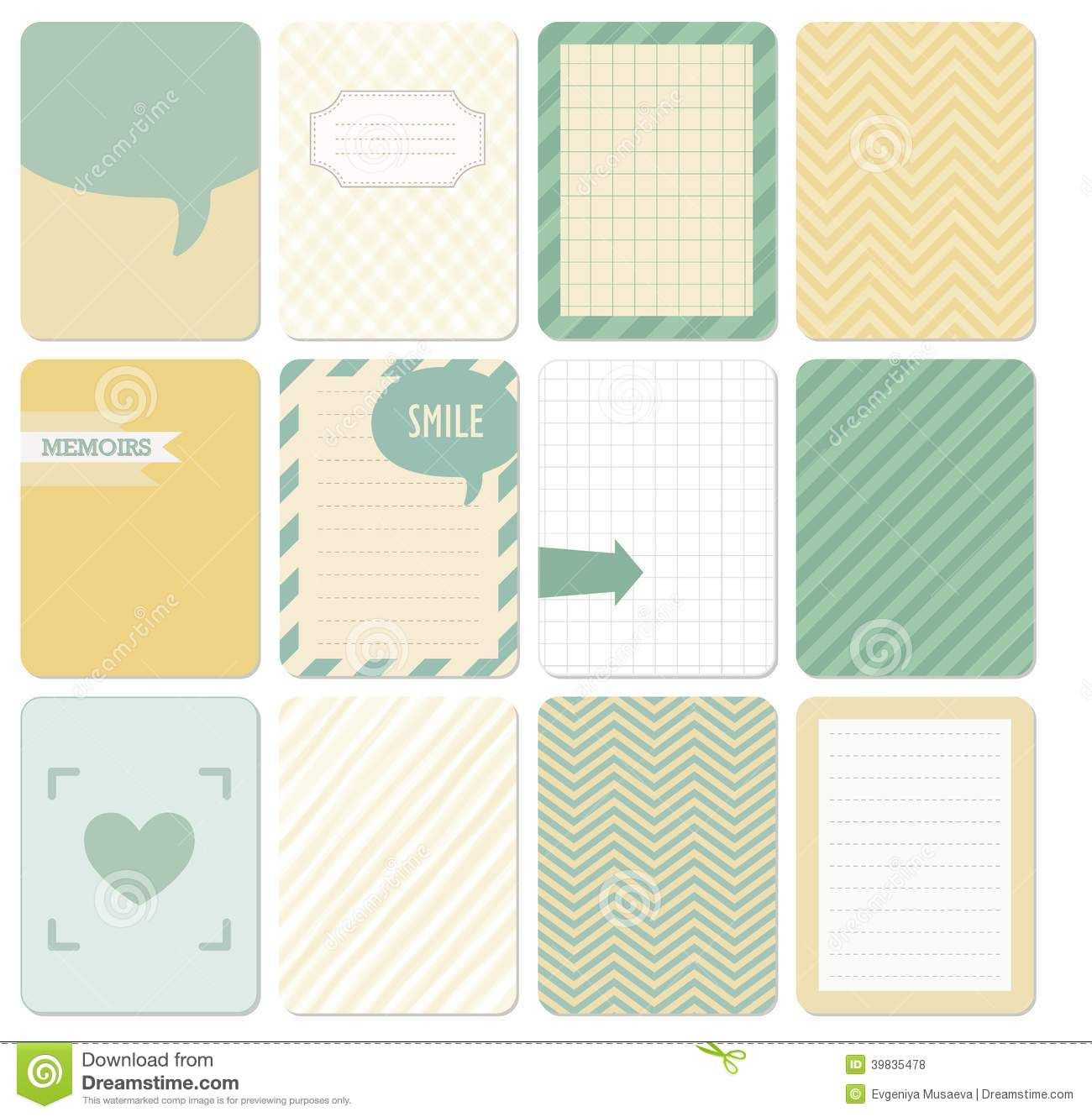 Vector Set Of Journaling Card. Stock Vector - Image: 39835478