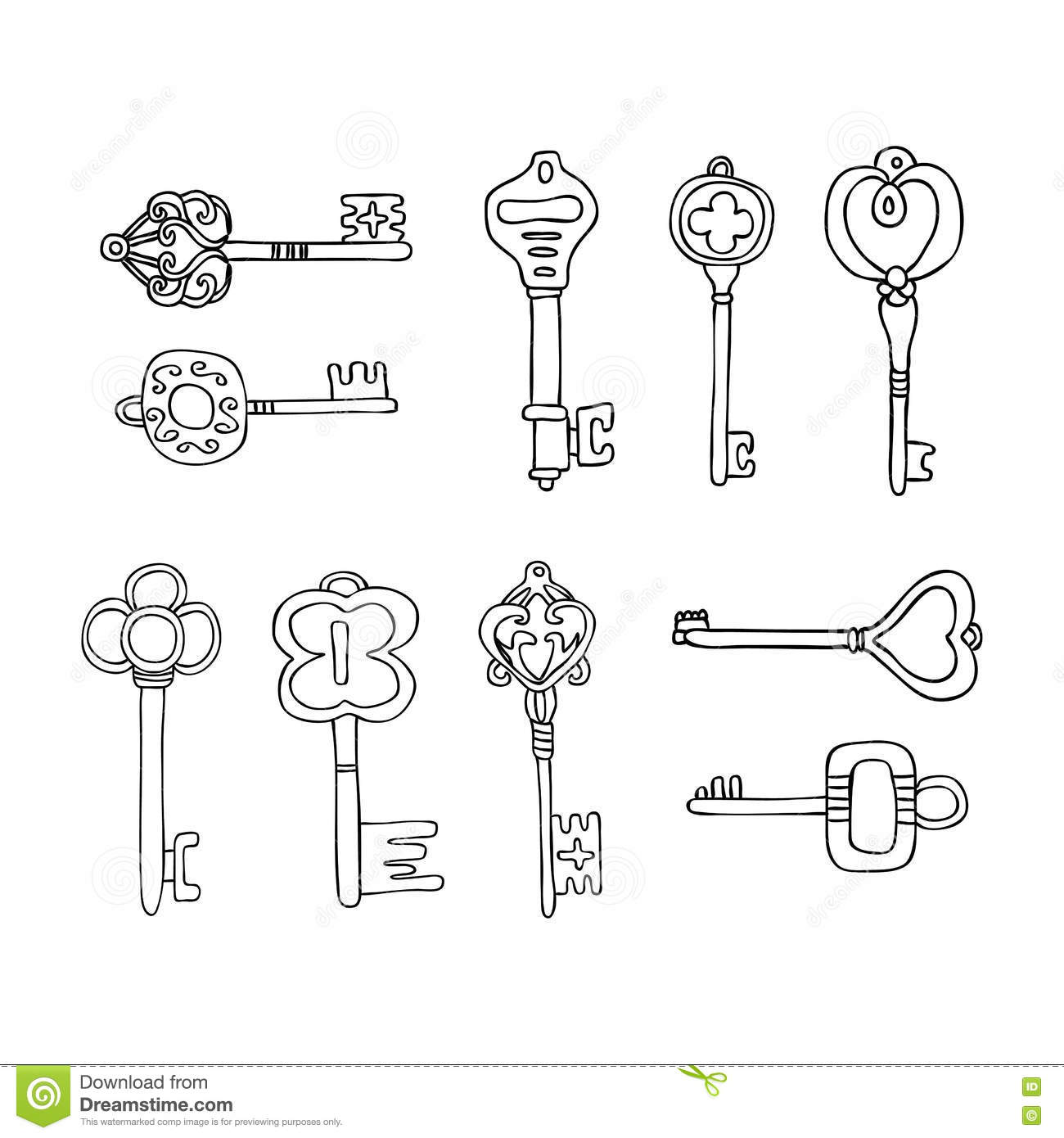 Vector Set Of Keys Icons. Modern And Antique Keys. Types