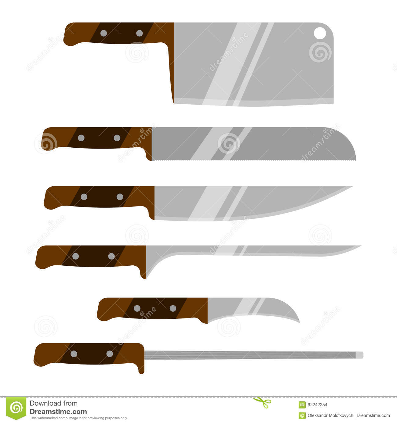 Vector Set Of Kitchen Knives. Kitchen Utensils. Knife