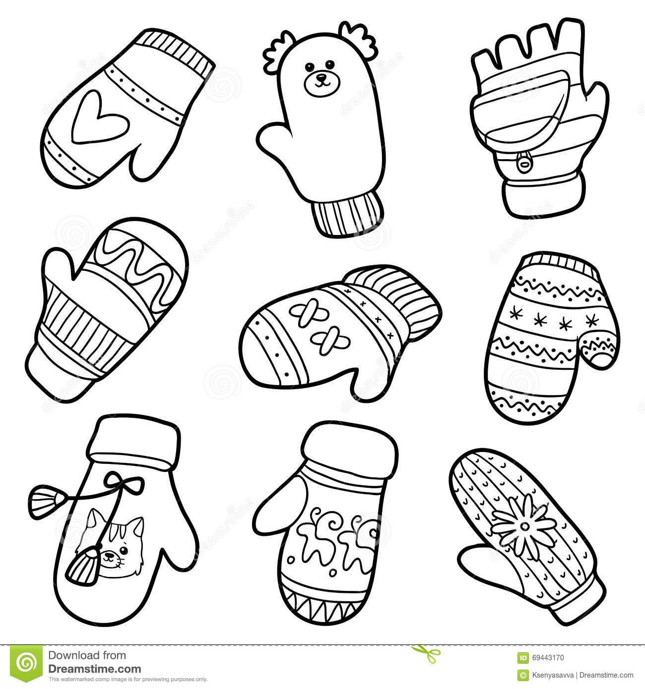 Vector Set Of Knitted Mittens With Animals And Geometric Pattern ...