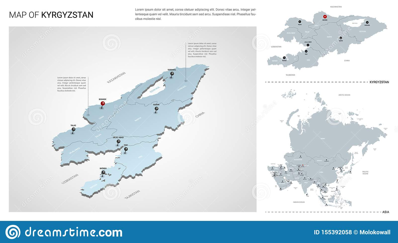 Picture of: Vector Set Of Kyrgyzstan Country Stock Vector Illustration Of Border Political 155392058