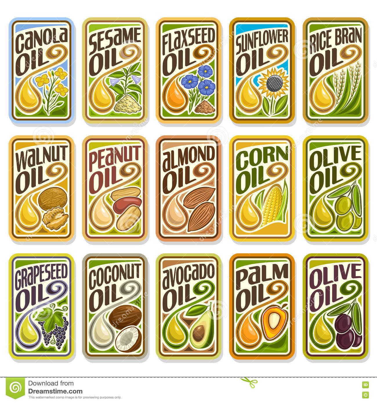 Vector set labels Cooking and Frying Oil
